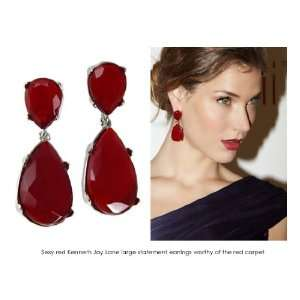 Kenneth Jay Lane Earrings   Teardrop Faux Red Opal Crystal