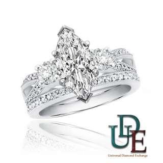 Diamond Bridal Wedding Ring Set 2.15ctw Marquise 14K White Gold Liking