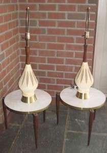 Pair VTG Eames Era Danish Mid Century Modern Ceramic Pottery Teak