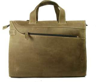 Mens Full Grain Leather Briefcase Messenger Laptop Bag