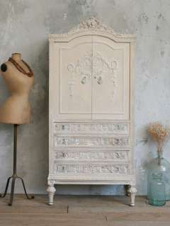 Vintage Antique White Armoire European French Style Romantic