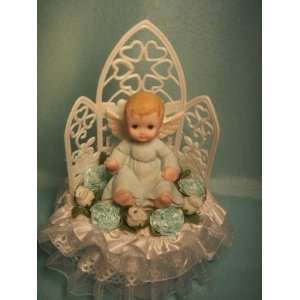 Boy Angel Christening Baby Shower Cake Top with Dove All