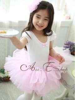 Girls Princess Party Leotard Ballet Dance Costume Tutu Fairy Dress