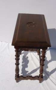 English Jacobean style solid walnut table , turn of C.