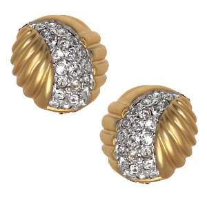 BAMBALINA Gold Plated Crystal Clip On Earrings Jewelry