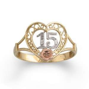 10k Tri Colored Gold 15 Rose Ring Jewelry