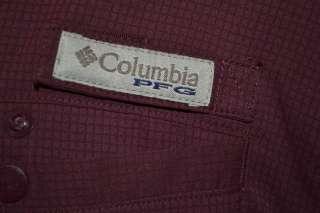 Columbia PFG ATM A&M TEXAS BURGUNDY ATHLETIC FISHING SHIRT MENS LARGE