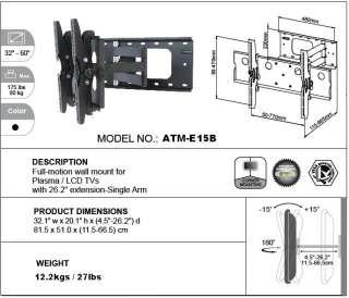 LCD LED & Plasma TV Wall Mount Bracket 32 60 Swivel