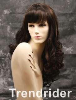 Sensational long curly wig brown w/auburn hilites full bangs