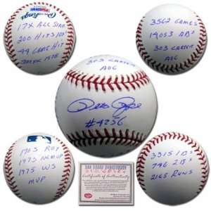 Reds Hand Signed Rawlings MLB Baseball with Stat Ball Inscription