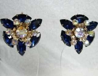 Large Juliana D&E Aurora Borealis & Sapphire Navette Rhinestone Clip