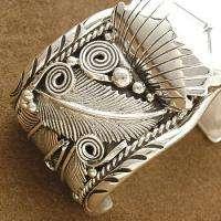 Native American Navajo .925 Sterling Silver Womens Mens Cuff Watch