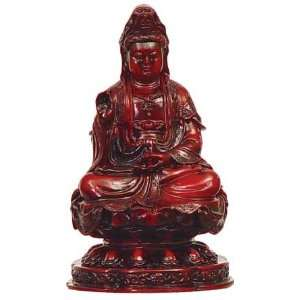 FIGURINE   KWAN YIN GIVING REDSTONE 4.5H