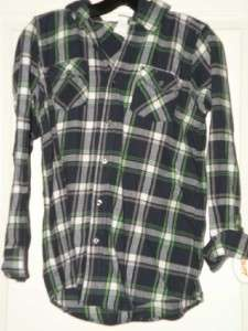 Large Boys Plaid Flannel top Shirt LONG sleeve Hoodie NWT