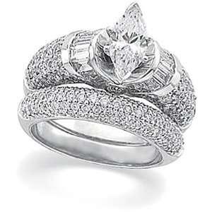 14K White Gold Diamond Wedding Set Semimount   2.50 Ct.    DOES NOT