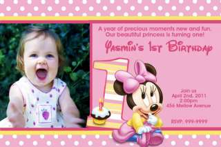 Minnie Mouse Birthday Invitations U Print 24hr Service 4x6 or 5x7
