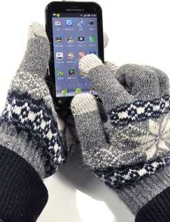 Touch Screen Phone Notebook Wool Blends Gray black Flakes Gloves
