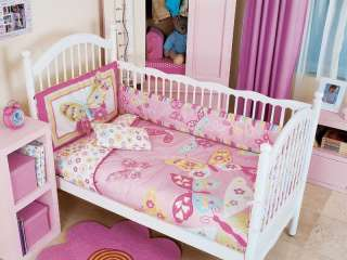 5PC BABY GIRL PINK BUTTERFLY CRIB BEDDING NURSERY SET