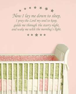 BABY Sleep PRAYER Wall Art Stickers Room Decals KiDs