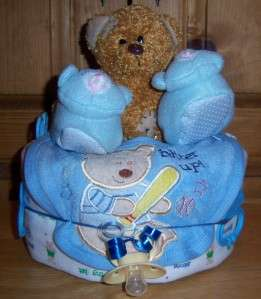 Baby Shower Single Tier Diaper Cake, Bear, Duck, Safari, Prince