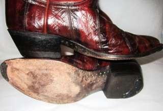 Nice vtg Tony Lama EEL SKIN exotic skin mens Western cowboy boots 8 D