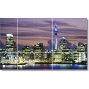 City Scene Shower Tile Mural C181  24x40 using (15) 8x8