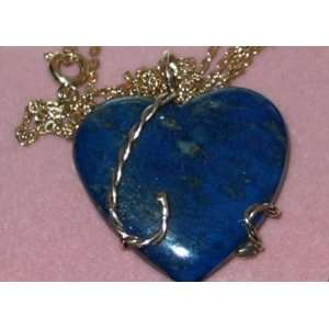 Lapis Lazuli Heart Shaped Pendant with 14k Gold Entwine and Bail plus