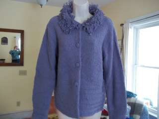 BALLINGER GOLD 100% acrylic shaggy boucle cardigan sweater light plum