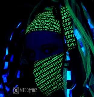 DIY UV Cyber Goth Binary Techno RAVE GID Headband