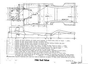 1966 Ford Falcon NOS Frame Dimensions Alignment Specs