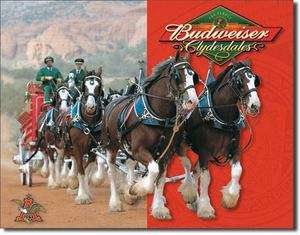 Budweiser Clydesdales Horses Horse Bud Beer Bar Tin Metal Sign