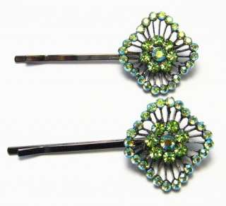 PERIDOT AUSTRIAN RHINESTONE CRYSTAL HAIR CLIPS BARRETTE BODY PIN