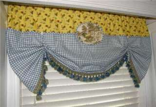 One of A Kind VALANCE French Country CURTAIN Tie Up Balloon Shade
