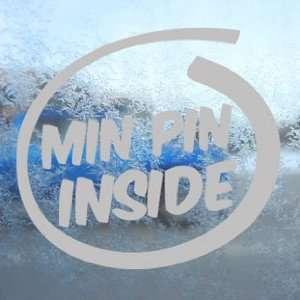 Min Pin Inside Paws Bone Gray Decal Dog Window Gray