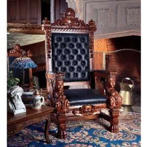 Replica Hand carved Solid Mahogany Throne Chair