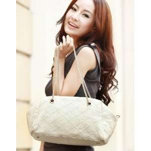 Quilted New Tote Lattice Women Lady Fashion Beige White 1170074 15