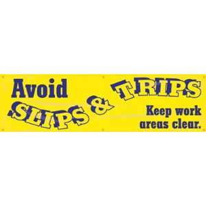 Avoid Slips & Trips, Keep Work Areas Clear Banner, 96 x