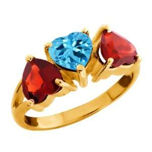 80 Ct Heart Shape Swiss Blue Topaz and Garnet Gold Plated Silver