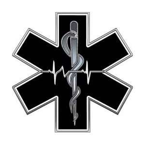 Black and White EMT EMS Star Of Life With Heartbeat   6 h