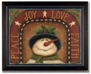 Peace Joy Love Faith Christmas Gift Folk Print Framed