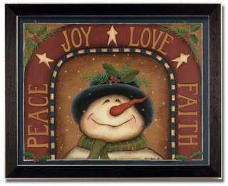 Peace Joy Love Faith Christmas Gift Folk Print Framed