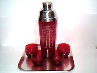 Vintage 1930s Ruby Red Glass Recipe Cocktail Shaker Set w 4 Roly Poly