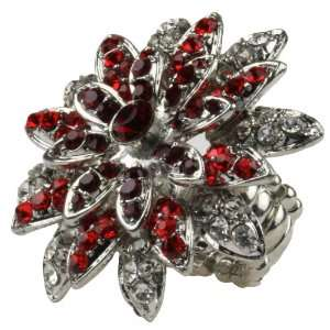 Flower Covered in Dark Red Rhinestones Stretch Bling Ring Jewelry