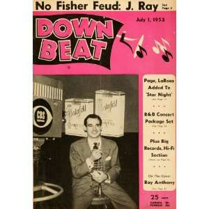 1953 Cover Down Beat Ray Anthony Trumpet Big Band Actor