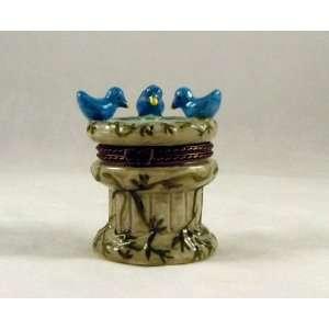 Blue Birds Bird Bath Fountain Trinket Box phb NeW