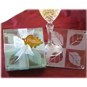 Fall in Love Frosted Leaf Design Glass Coaster Set Fall