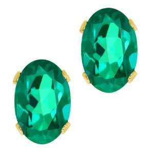 Shape Deep Green Mystic Topaz Yellow Gold Brass Stud Earrings Jewelry
