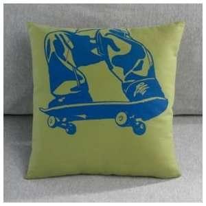 Kids Skateboard & BMX Bike Cotton Throw Pillow