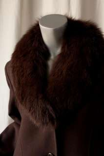 BILL BLASS Long Brown*CASHMERE*Fur Maxi Coat Jacket M