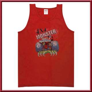4X4 Red Monster Truck Vintage Body Tank Top MENS S   2X